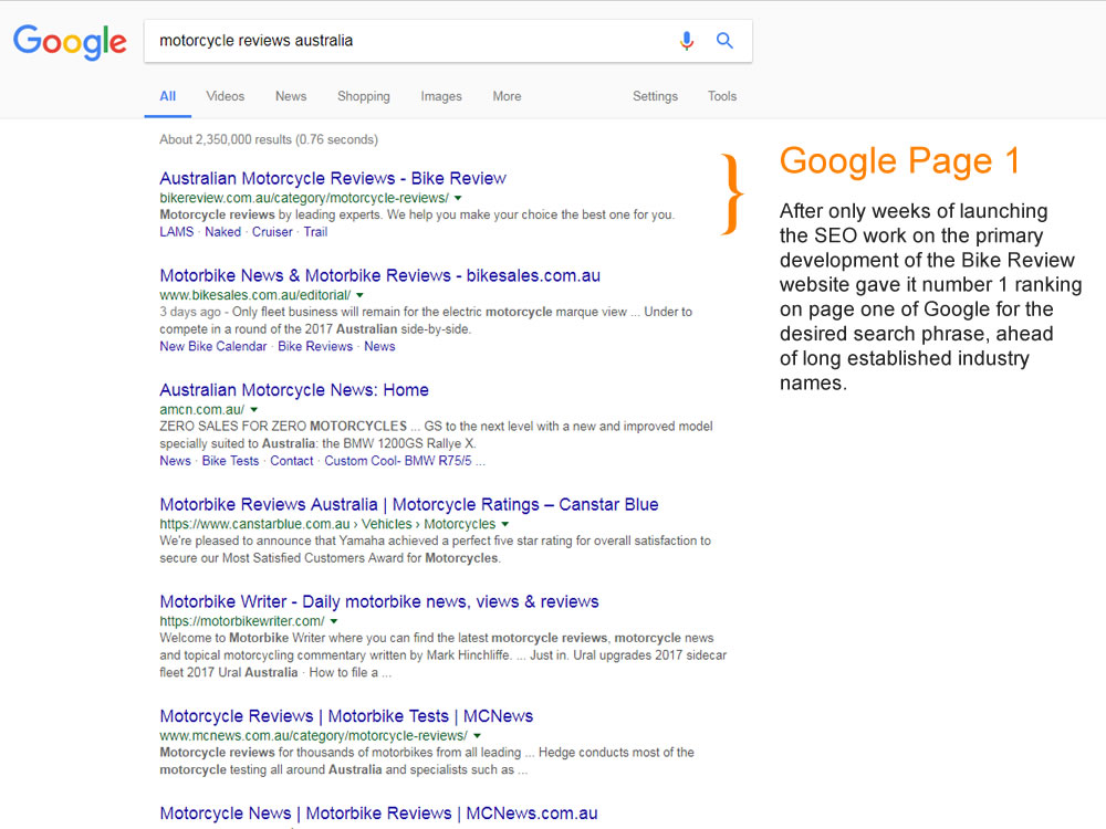 page 1 google seo expert gold coast