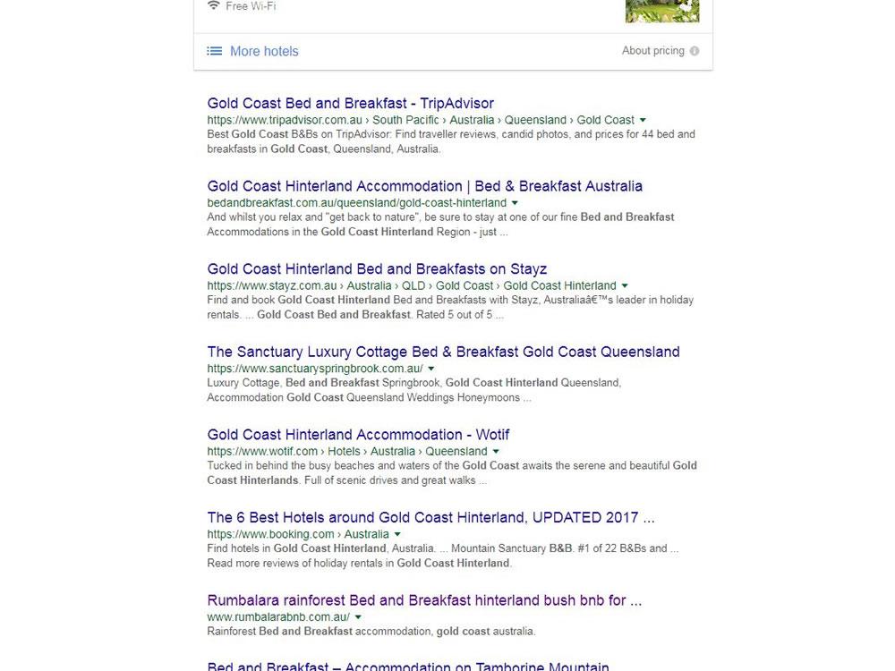 gold coast accommodation seo ranking